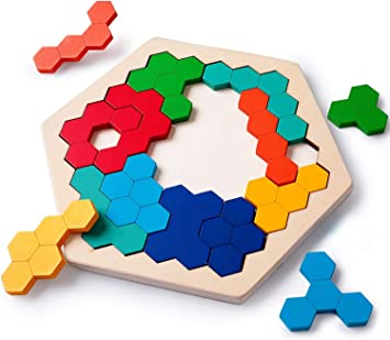 Rolimate Rompecabezas de Madera Hexagon Juguete para niños ...