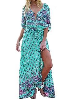 Kyerivs Damen Party Maxi Kleid Boho V-Ausschnitt Gemischtem Blumenprint  Lange Sommerkleid e2ebea02d3