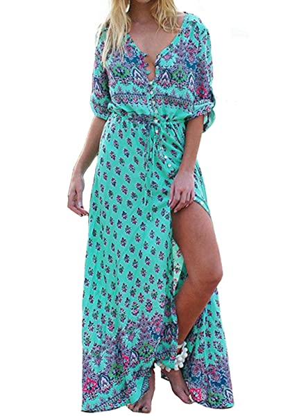 d3ec10972421d Kyerivs Women Party Maxi Dress Boho V Neck Floral Printed Casual Button up  Flowy Split Long Sundress