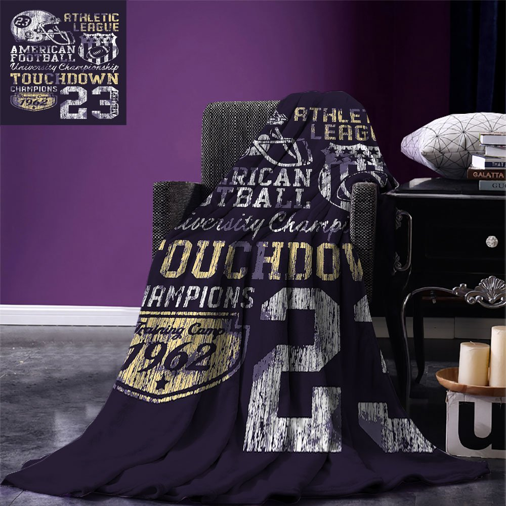 smallbeefly Sports Warm Microfiber All Season Blanket Retro Style American Football College Theme Illustration Athletic Championship Apparel Print Artwork Image,Multicolor, Purple