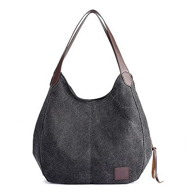 Hiigoo Fashion Women s Multi-pocket Cotton Canvas Handbags Shoulder Bags  Totes Purses (Black) ebadfadfa3aab