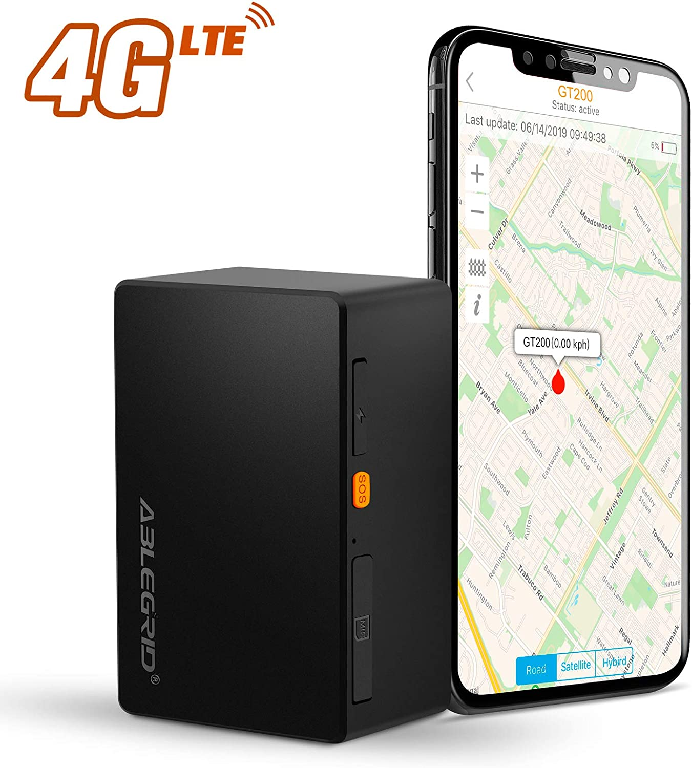 ABLEGRID GPS Tracker for Vehicles, 6800mAh-30 Days 4G LTE Real-time GPS Tracking Device for Vehicles and Persons Portable Hidden Magnetic Mini GPS Locator Tracker for Cars - with Global SIM Card