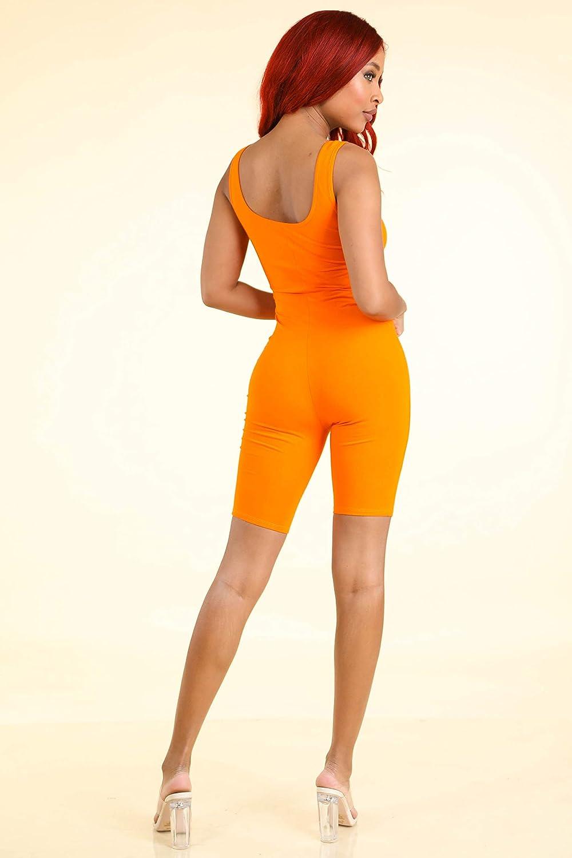 Karies Womens Tank Sleeveless Low Cut Bicycle Length Casuit Bodysuit JJ1064