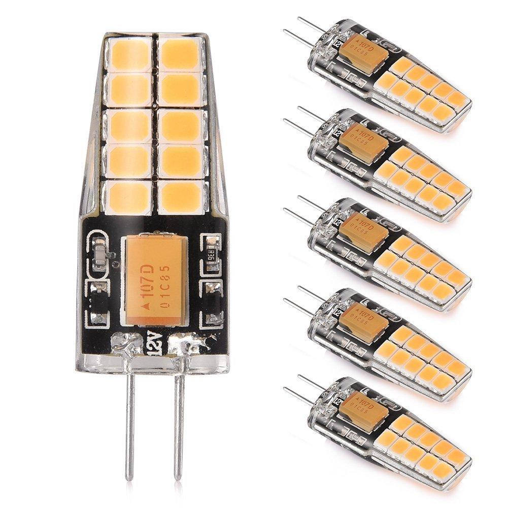 LEDGLE 6 Pack G4 LED Lights Bulbs, 3W(30W Halogen Bulb Equivalent), Warm White 2800k, for Interior Lighting, Signal Lights, DC/AC 12V