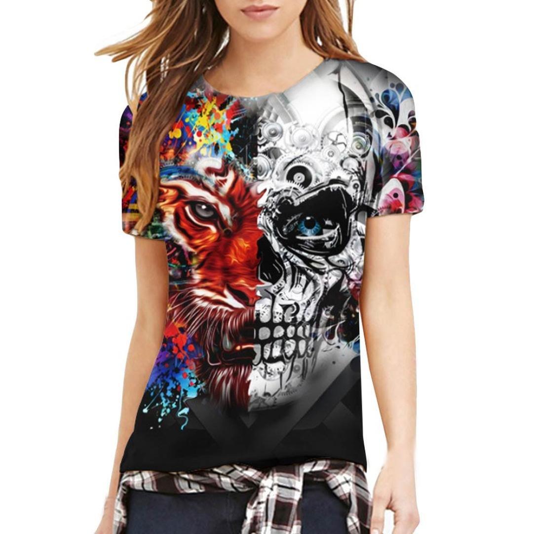 Lovers T-Shirts pour Hommes Et Femmes,Covermason Unisexe 3D Crâne Tigre Pattern imprimé Chemise à Manches Courtes T-Shirts Blouse Tops