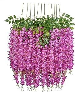 U'Artlines 12 Pack 3.6 Feet Artificial Fake Wisteria Vine Ratta Hanging Garland Silk Flowers String Home Party Wedding Decor (12, Purple Red)