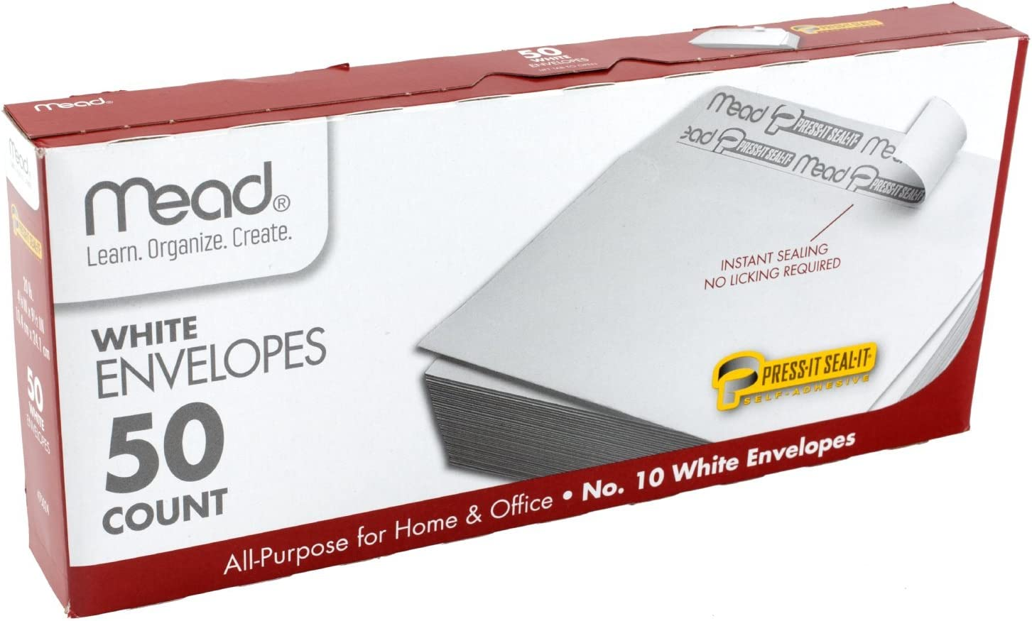 Mead #10 Envelopes, Press-It Seal-It, White, 50/Box (75024) : Business Envelopes : Office Products
