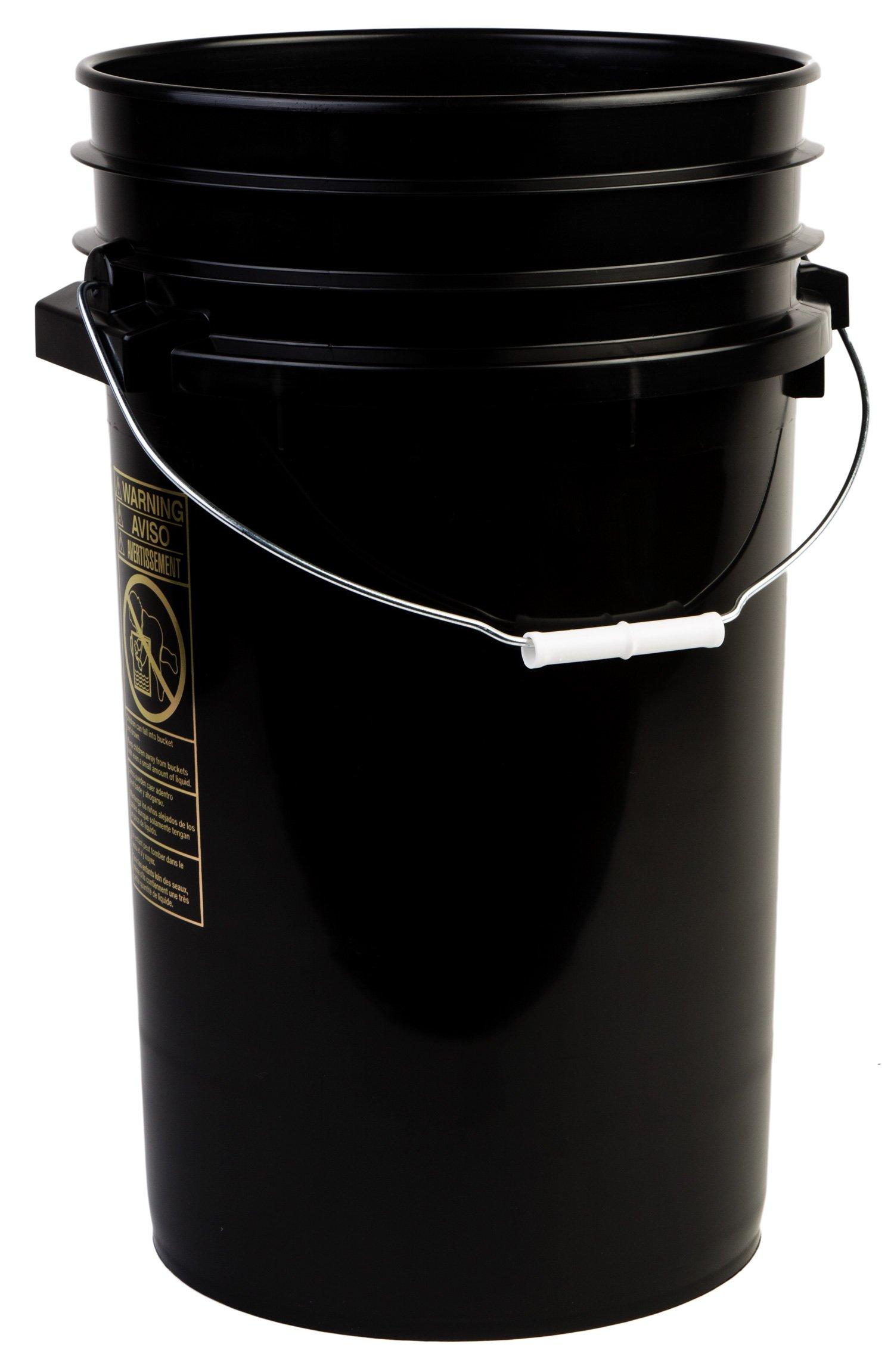 Hudson Exchange Premium 7 Gallon Bucket, HDPE, Black, 8 Pack