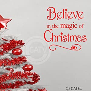 Believe in The Magic of Christmas Vinyl Wall Art Decals Sayings Words Lettering Quotes Home Decor (Red, 10.2x10.2)
