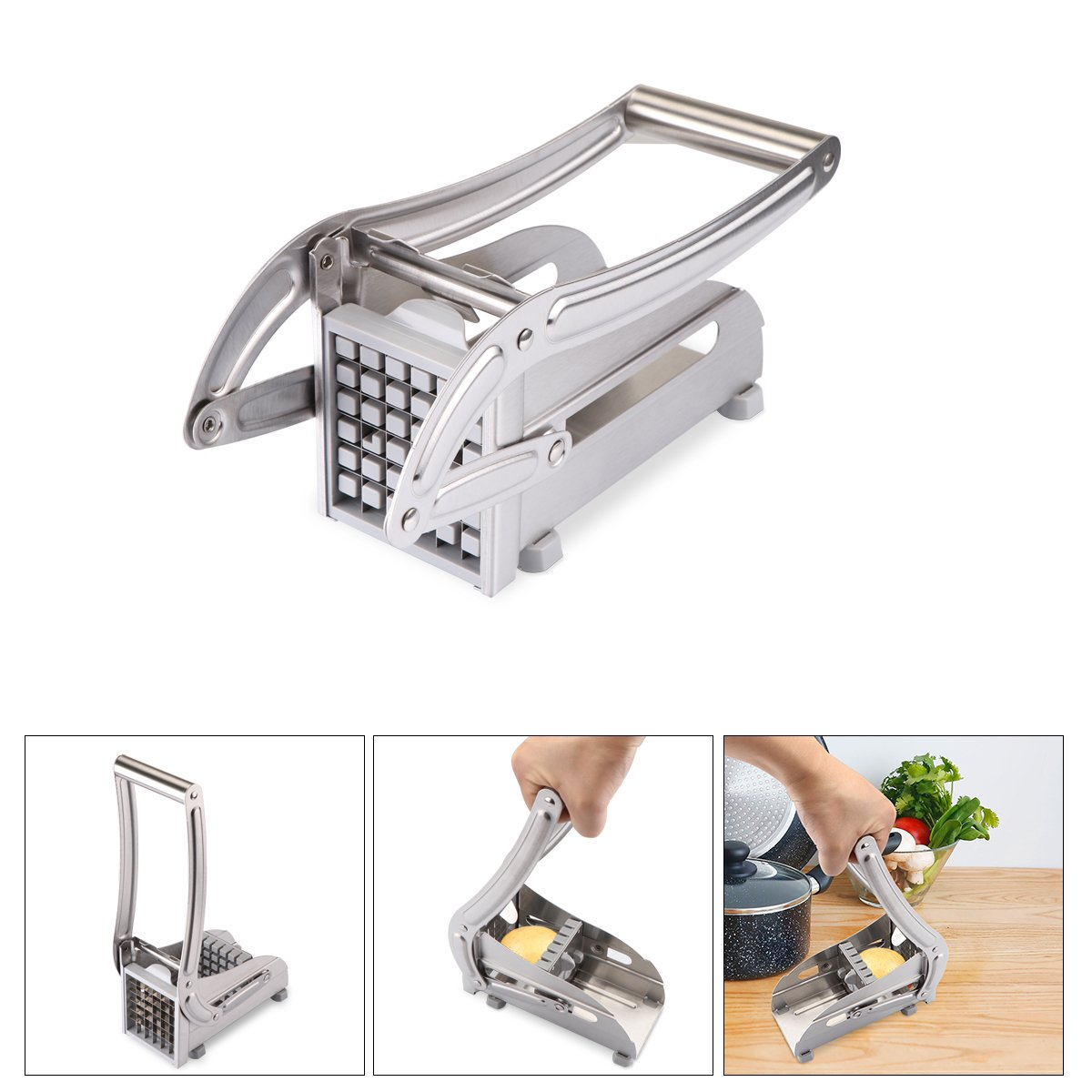 Stainless Steel French Fry Potato Cutter Vingtank Multipurpose French Fry Cutter Slicer Chipper with 2 Interchangeable Heavy-Duty Blades for Potatoes, Carrots, Cucumbers, Zucchinis, Radishes, Yams, Apples and More.