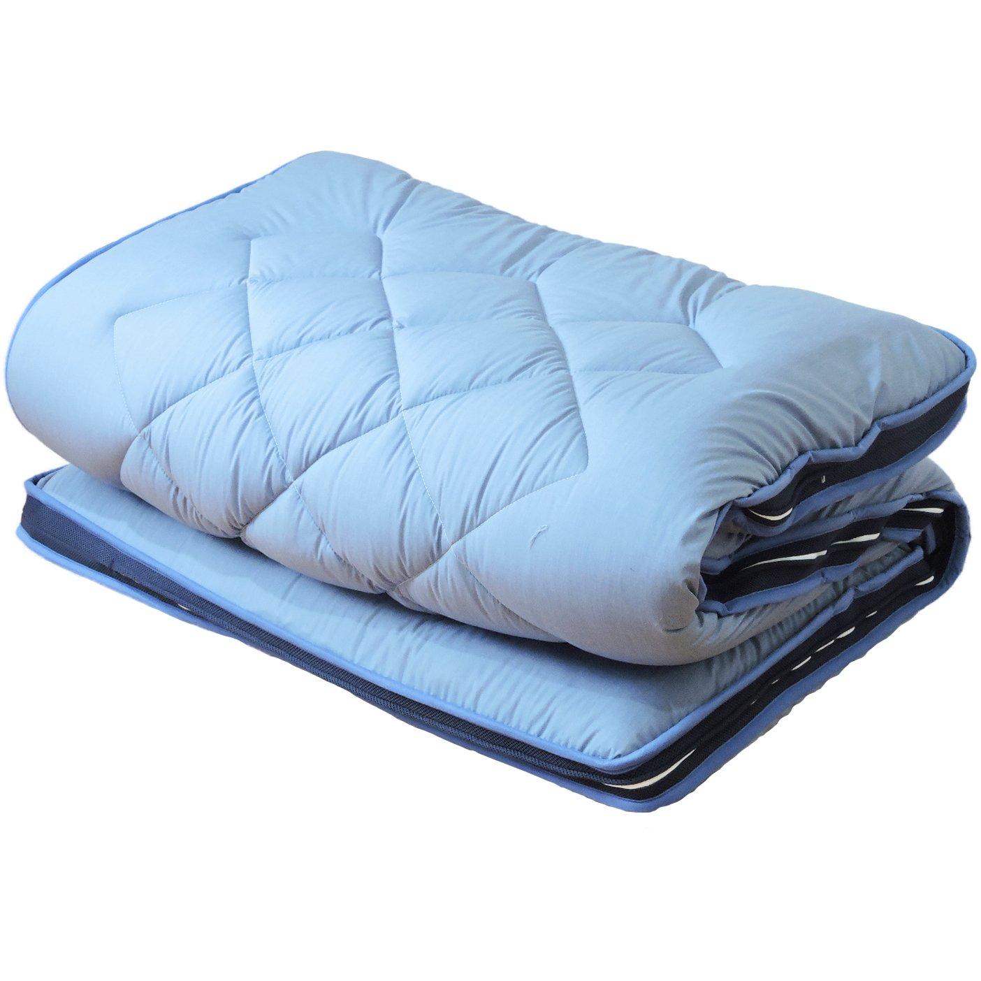 眠り姫 高弾発 パラレーヴTM 80mm敷マット L字ファスナー 洗濯可 セミダブルロング ブルー B06XXD1MMS セミダブルロング ブルー ブルー セミダブルロング