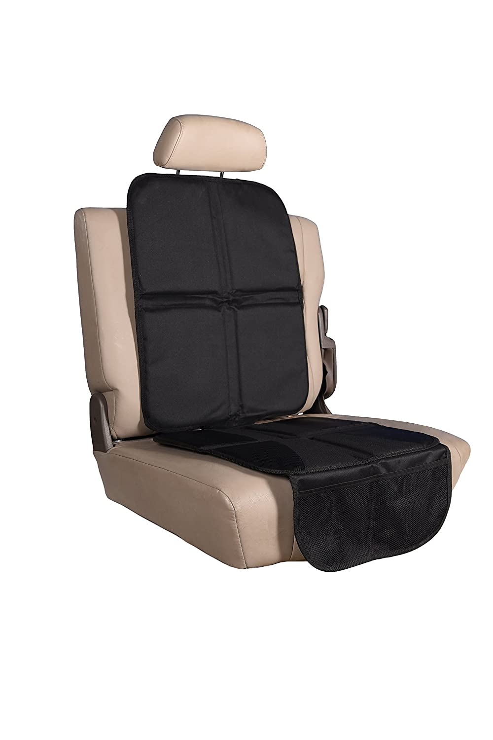 K4 Dynamics Child and Pet Car Seat Protector - Thick 600D Oxford Fabric - Catch Crumbs, Hair, and Messes - Non Slip and Extra Padded for Comfort - Adjustable - Waterproof