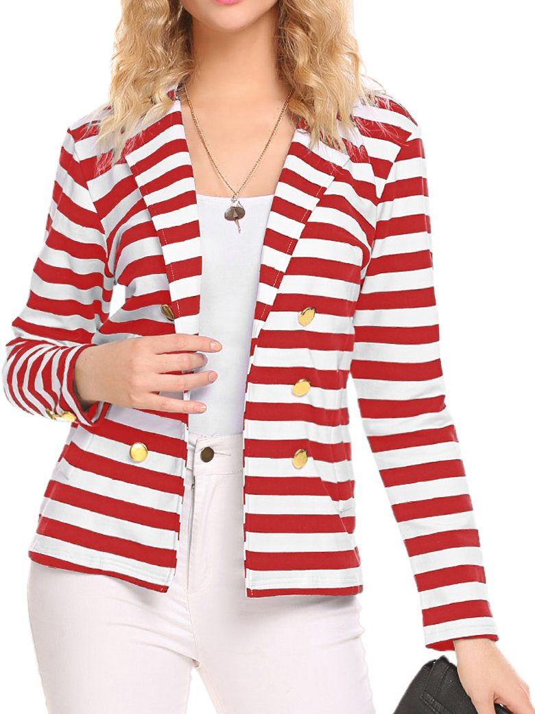 Naggoo Women's Striped Slim Business Work Blazer Suit Jacket Coat Outwear (L, Red and White)