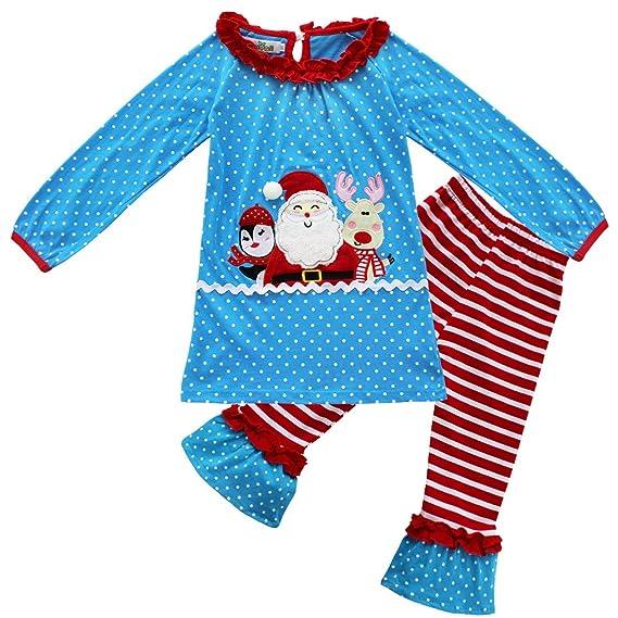 Alvivi Pijamas Navidad Unisex Niña Niña Dos Piezas Conjuntos de Ropa Santa Tops Camiseta Manga Largos +Pantalones Algodón 1-6 años: Amazon.es: Ropa y ...