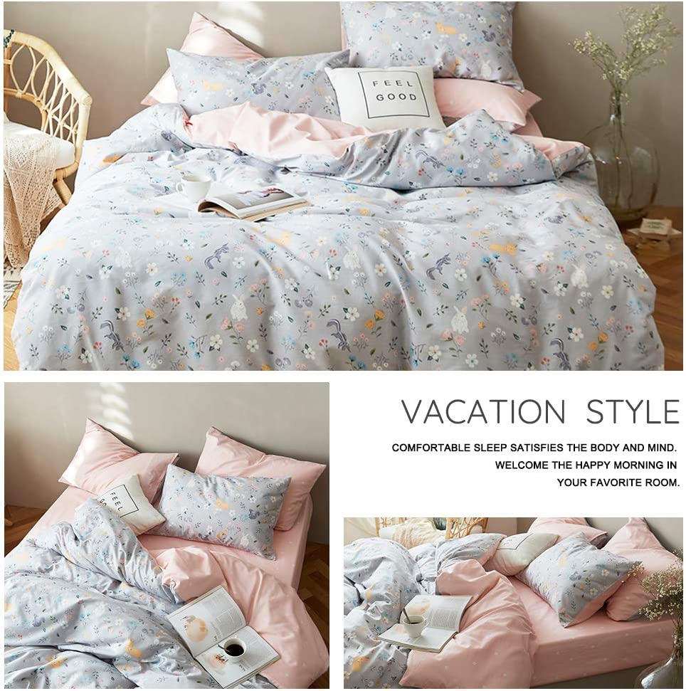 Floral Duvet Cover Twin Yellow White Girls Bedding Sets Twin Cotton Kids Comforter Cover for Teens Women Flower Botanical Duvet Cover with 4 Corner Ties Anti-Wrinkle Quilt Cover No Comforter