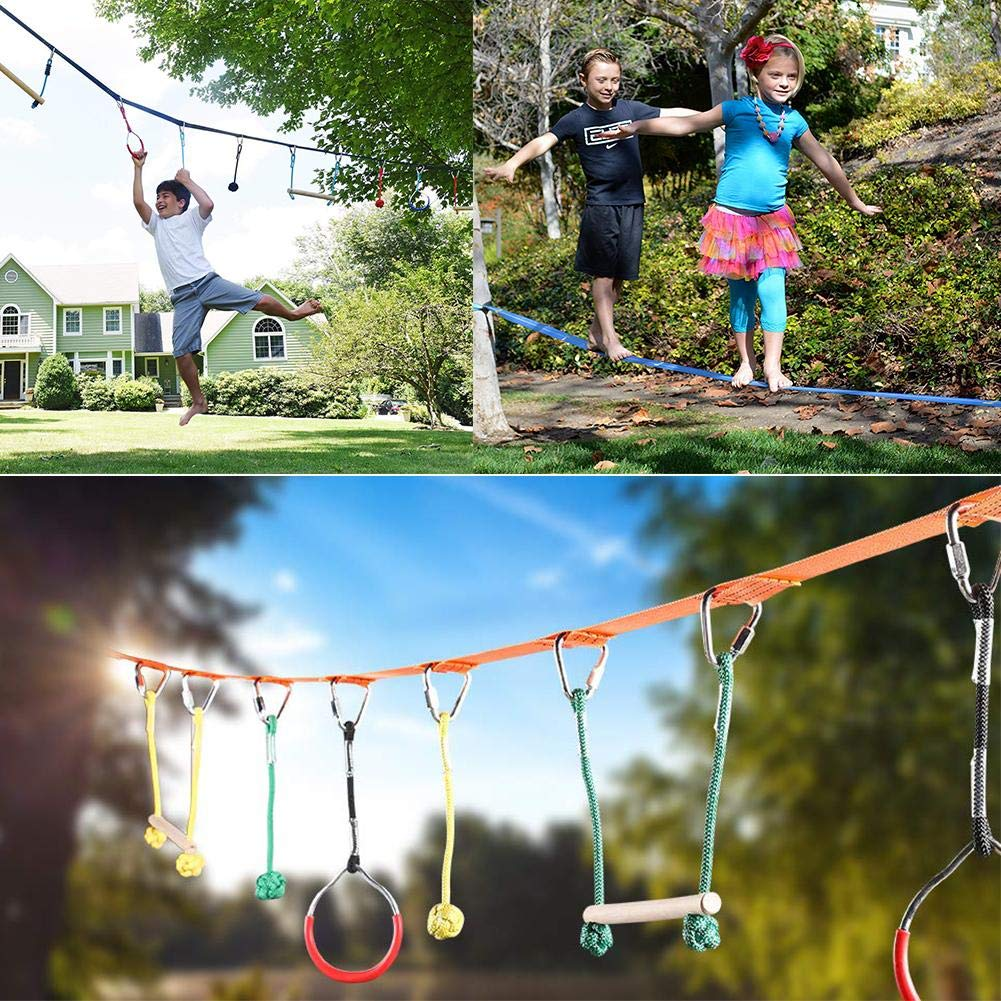 Jungels Portable Kids Obstacles Sling Ring - Monkey Pole Trapeze Bar Kit - 40 Foot 250lb Capacity Trapeze Swing- Outdoor Physical Training Gymnastics Garden Toy by Jungels (Image #2)