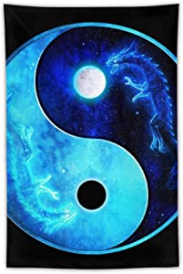 NiYoung Hippie Tapestry, Full and Eclipse Moon Dragon Ying Yang Tapestries, Indian Dorm Decor, Psychedelic Tapestry Wall Hanging Ethnic Decorative Poster 60x40 inches