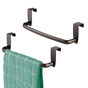 "mDesign Modern Kitchen Over Cabinet Strong Steel Towel Bar Rack - Hang on Inside or Outside of Doors - Storage and Organization for Hand, Dish, Tea Towels - 9.75"" Wide - 2 Pack - Bronze"