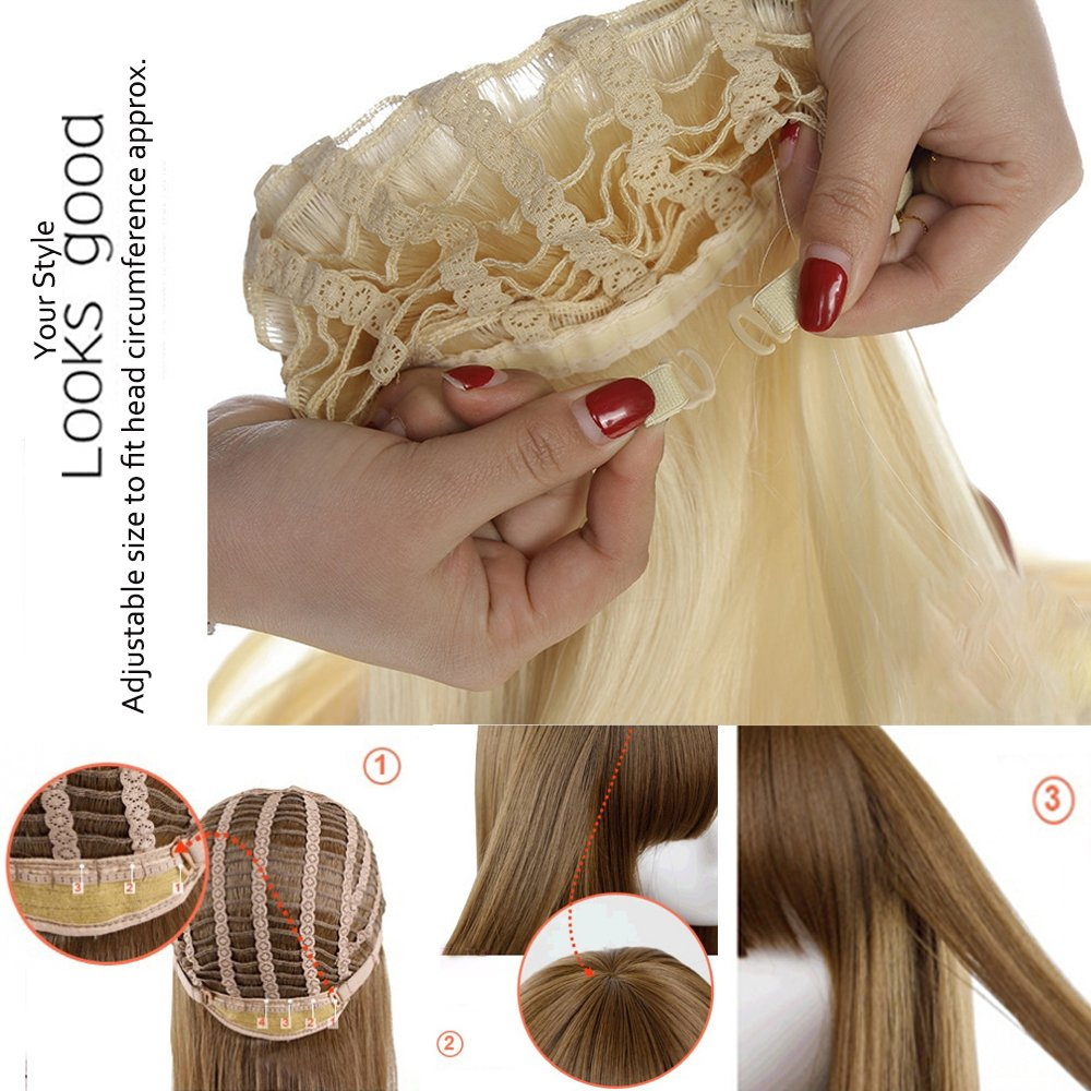 Synthetic Wig With Bang Blonde Japanese Kanekalon Fiber 12 Styles