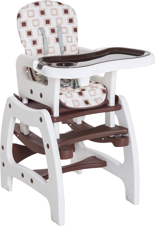 HOMCOM Trona para Bebé Multifuncional Convertible en Silla Mecedora y Silla+Mesa con Cinturón de Seguridad (Café)