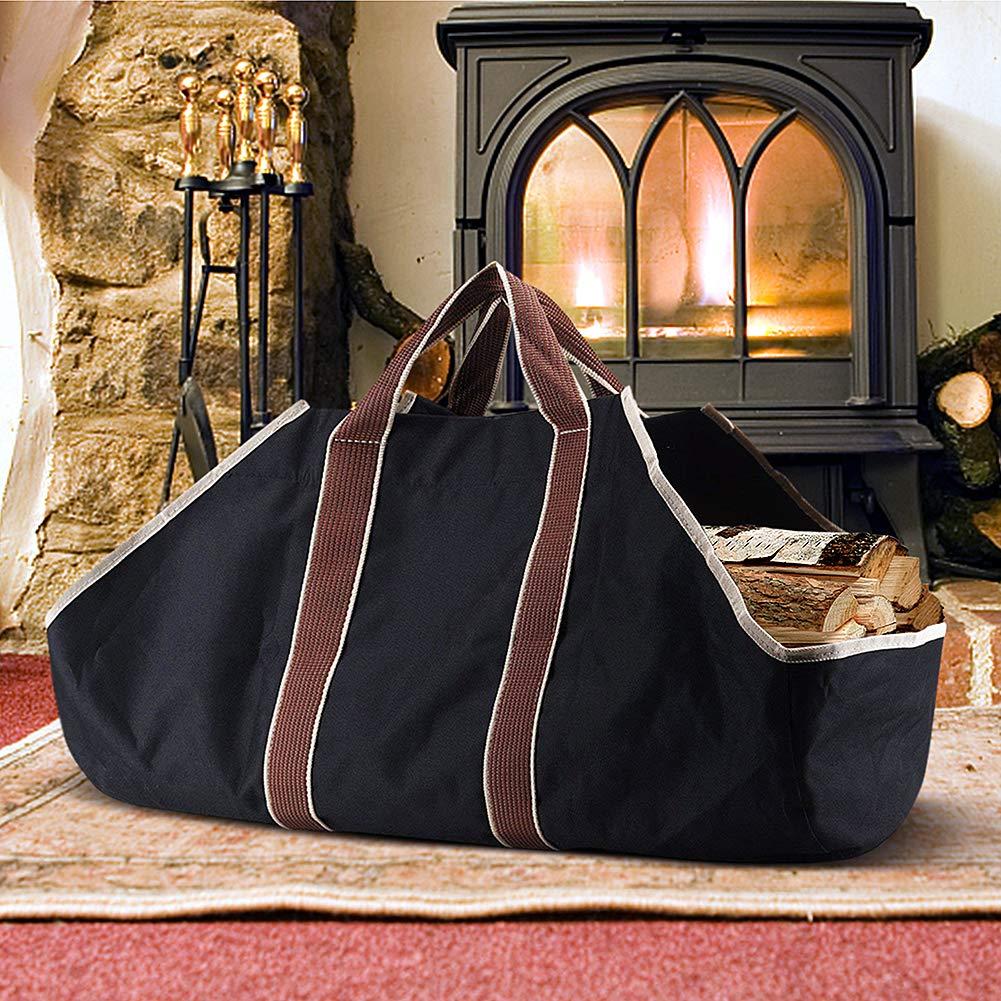 Bolsa de lona al aire libre, bolsa de almacenamiento de leñ a, bolsa de almacenamiento, bolsa, bolsa, almacenamiento de gran capacidad, negro bolsa de almacenamiento de leña ART TO REAL