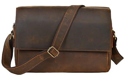 ALTOSY Leather Messenger Bag Laptop Briefcase Cross Body Shoulder ... 61a34697c35d0
