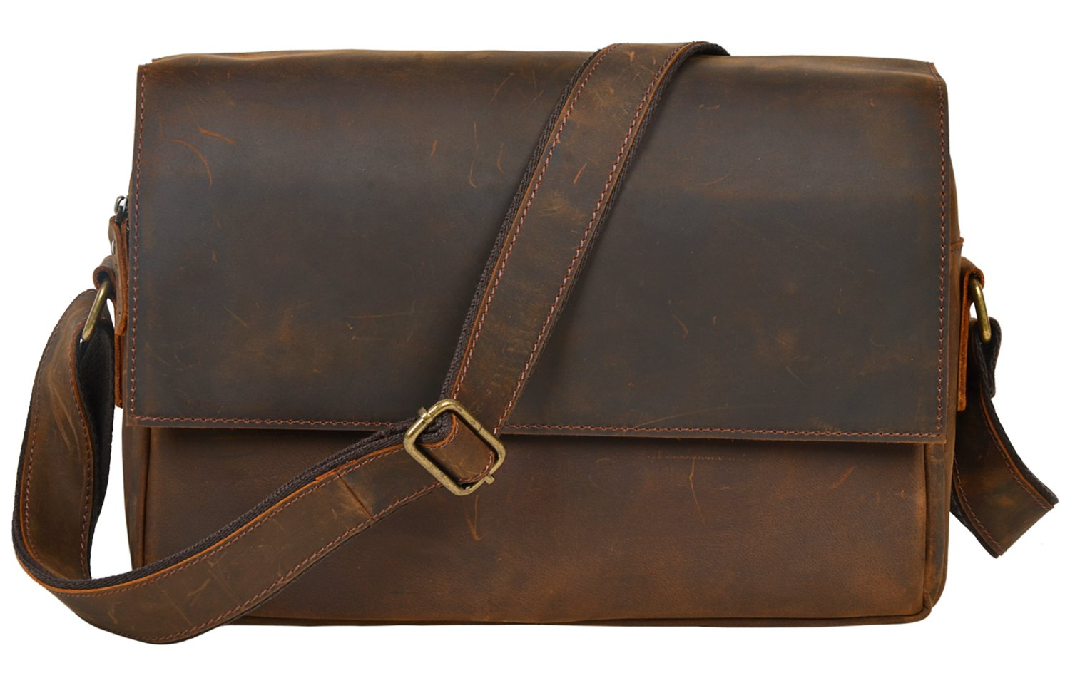 ALTOSY Leather Messenger Bag Laptop Briefcase Cross Body Shoulder Bag 6600 (Brown)
