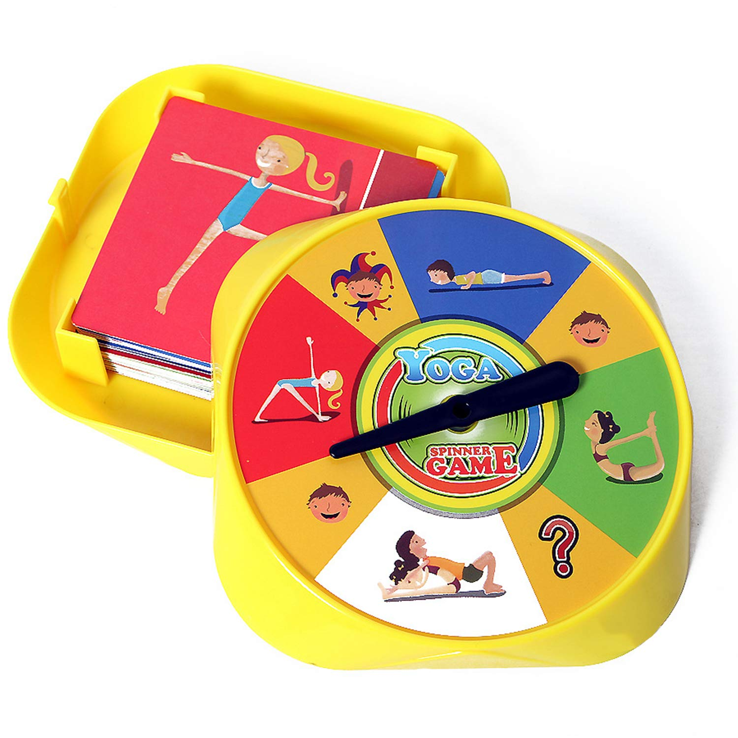 Moonlove Yoga Spinner Game 54 Yoga Pose Cards for 2-4 Players Educational Toy Desktop Game for Kids Age Over 5 Years Old