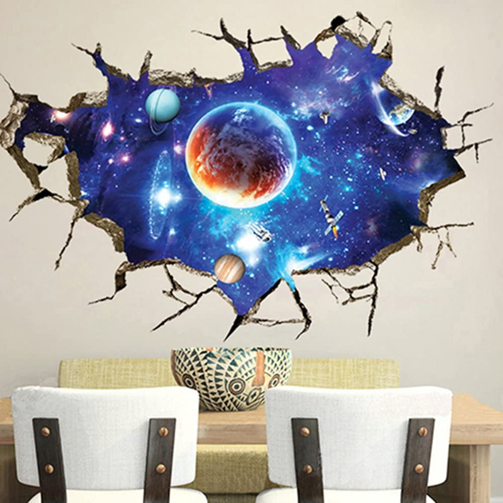 Globaldeal 3d Hole View Cracked Wall Stickers Art Decals Mural Wallpaper Decor Home Decal Sticker For Wall And Ceiling Home Decor Outer Space Planet Home Kitchen