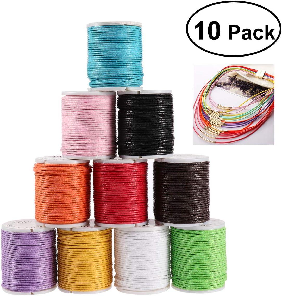 Rosenice - 1o ovillos de cuerda de algodón encerado para manualidades, collares y pulseras, 10 m, 1 mm: Amazon.es: Juguetes y juegos