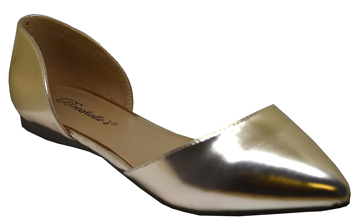 Breckelle's Womens Faux Leather D'Orsay Pointed Toe Flats Dolley-21