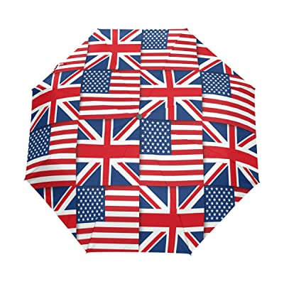 ALAZA Union Jack British Flag 3 Folds Auto Open Close Anti-UV Umbrella: Sports & Outdoors