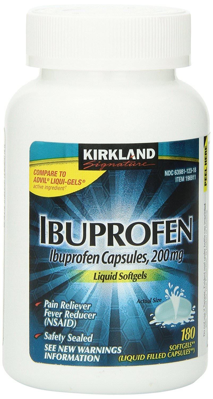 Ibuprofen Liquid Softgels 200mg, Kirkland Signature QnocSq Brand, 180 Capsules (10 Pack)
