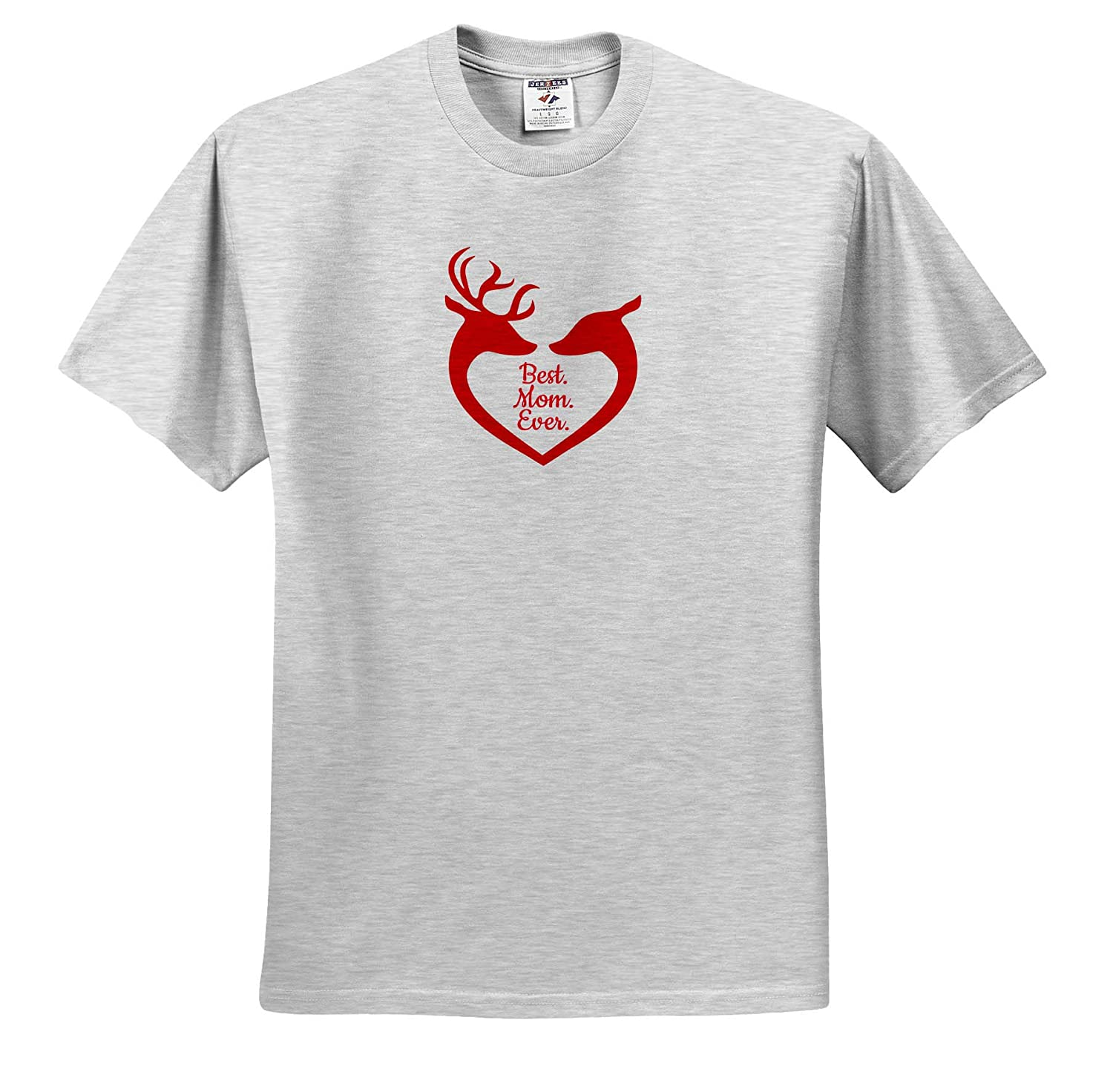 Family Ever Best 3dRose Alexis Design Red Silhouette of Reindeer Mother and a Child Mom - T-Shirts