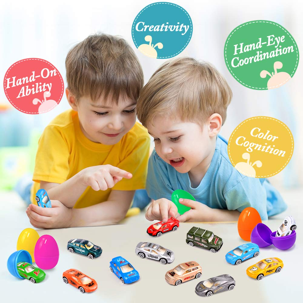 UMIKU 18 Pack Easter Cars Toys Easter Eggs Mini Die-Cast Cars Easter Basket Stuffers Easter Egg Fillers for Kids Surprise Egg Hunt Party Favors Premium Metal Car Toys Easter Gifts Class Prizes by UMIKU (Image #6)
