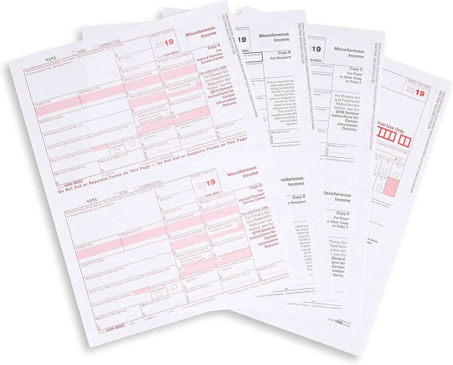 1099 MISC Forms 2019 5 Part Tax Forms Kit 50 Vendor Kit of Laser Forms Designed for QuickBooks and Accounting Software