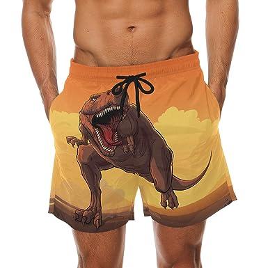 Mens Casual Beach Shorts Polyester Trex Dinosaur Pattern Beachwear with Pockets