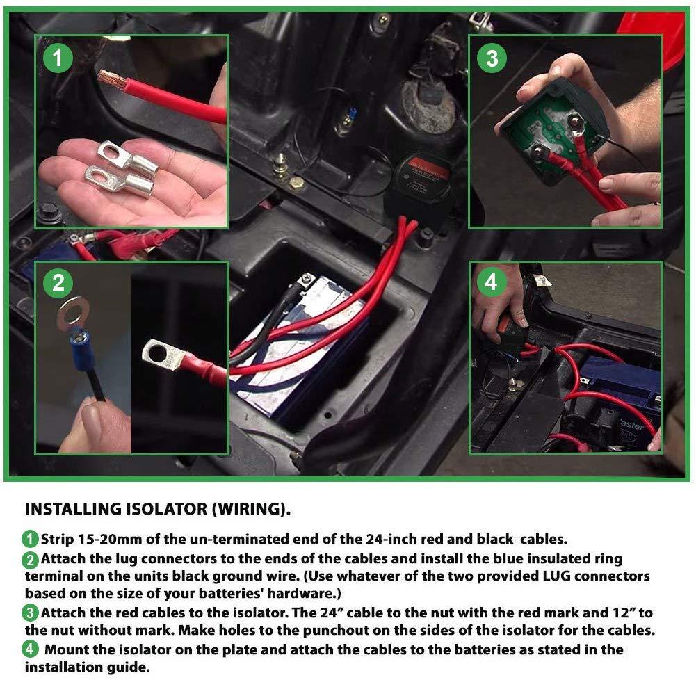 Voltage Sensitive Relay FieryRed 140 Amp Dual Battery Smart Isolator /& ATV UTV Wiring Kit