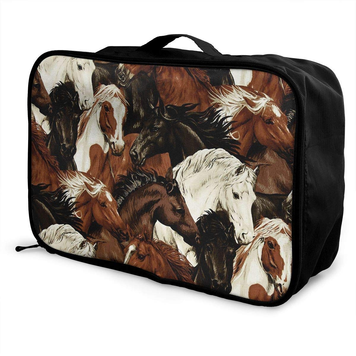JTRVW Luggage Bags for Travel Portable Luggage Duffel Bag Brown White Horse Head Travel Bags Carry-on in Trolley Handle