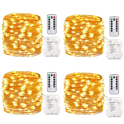 gdealer 4 pack fairy lights fairy string lights battery operated waterproof 8 modes 50 led 164