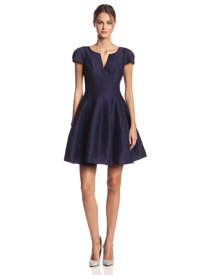 HALSTON HERITAGE Women's Silk Faille Cap Sleeve Tulip Hem Cocktail Dress, Midnight, 0