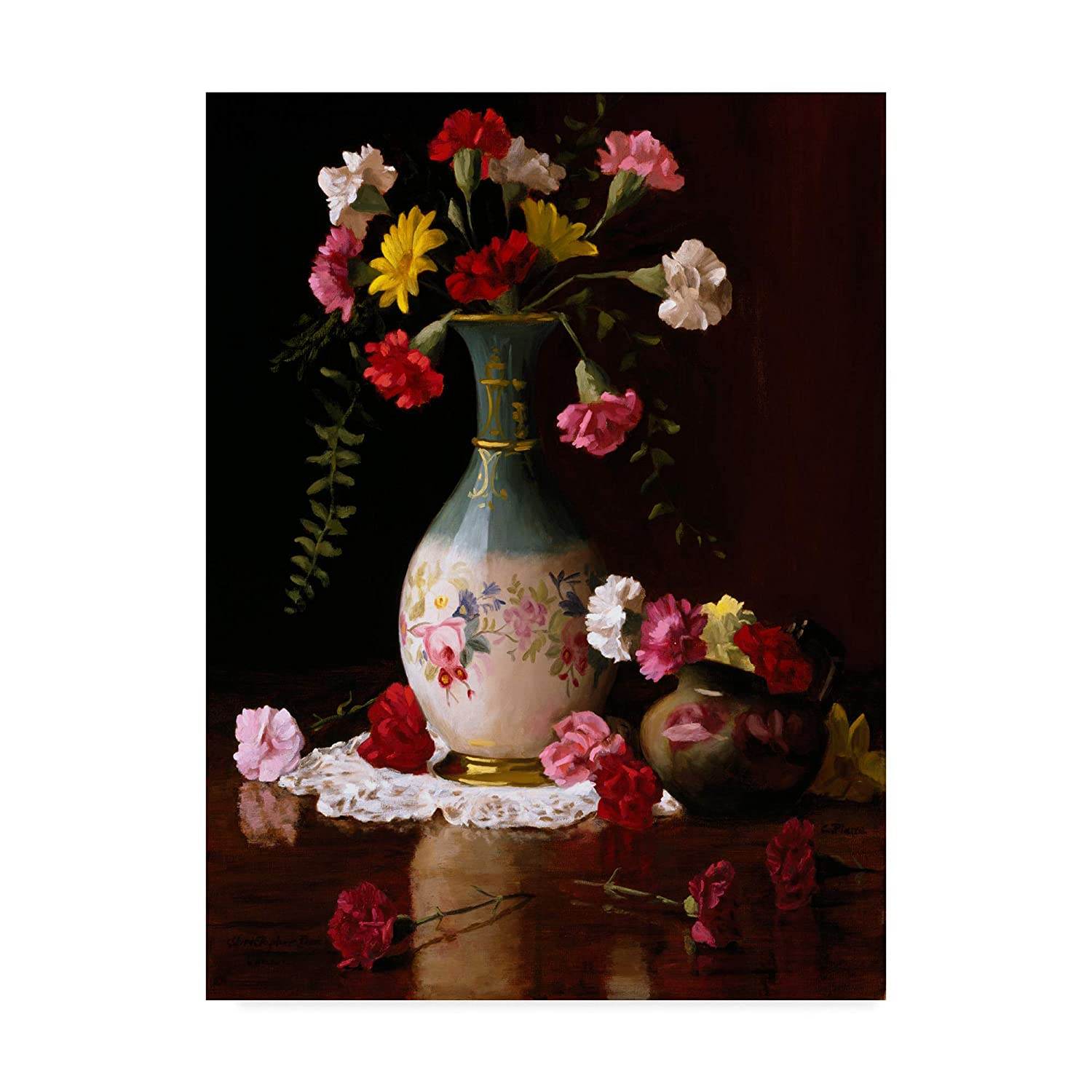 Trademark Fine Art Carnations in a Victorian Vase by Christopher Pierce, 14x19 Fine Art, Multicolor