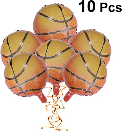 JANOU 20pcs Basketball Balloons 18Inch Aluminum Foil Round Balloons for World Game Sports Birthday Graduation Party Decoration