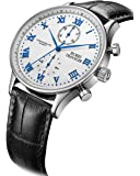 BUREI Men's Multifunction Chronograph Sports Watch with Blue Hands White Dial and Black Leather Band