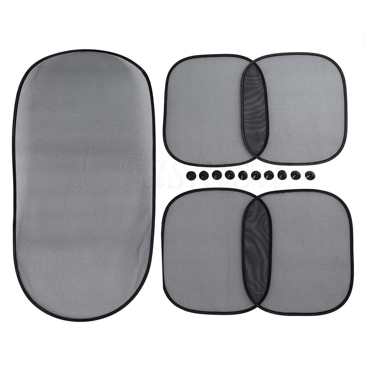 MAZIMARK--New 5Pcs Car Side&Rear Window Curtain Sun Shade Mesh Cover Visor Shield Sunshade