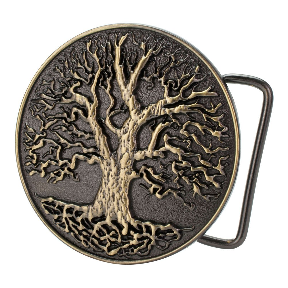 Buckle Rage Circular Men's Tree Of Life Roots Branches Nature Design Belt Buckle BLT-661-AS