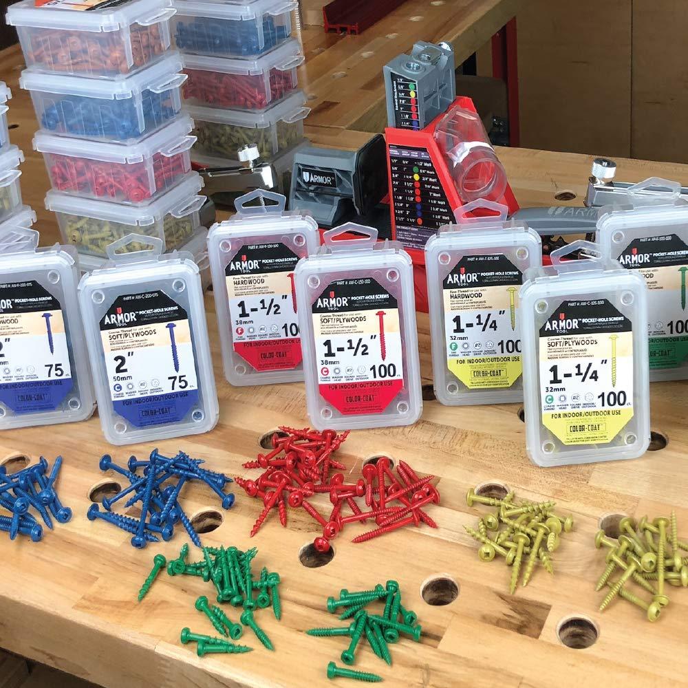 100 Package Armor Tool 1-1//4/″ Fine-Thread Pocket Hole Screws