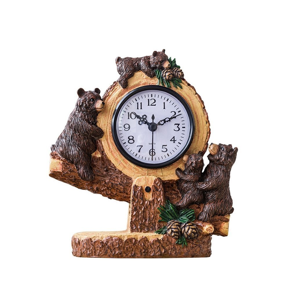 ZAZAZA Health UK Clock- Clock American Country Nostalgia Single-Sided Resin Cartoon Black Bear Romantic Mute Classical Sitting Bell Welcome