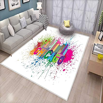 Great Chicago Skyline Area Rugs For Bedroom Splash Of Colorful Paint Background  With Text Of Chicago And