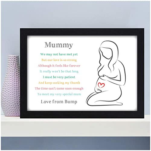 A3 Prints and Frames A4 Personalised Bump Gifts for Mummy Presents for Expecting Mummy from Bump Unborn Baby Bump Mummy To Be Birthday Christmas Baby Shower Gifts A5 18mm Wooden Blocks